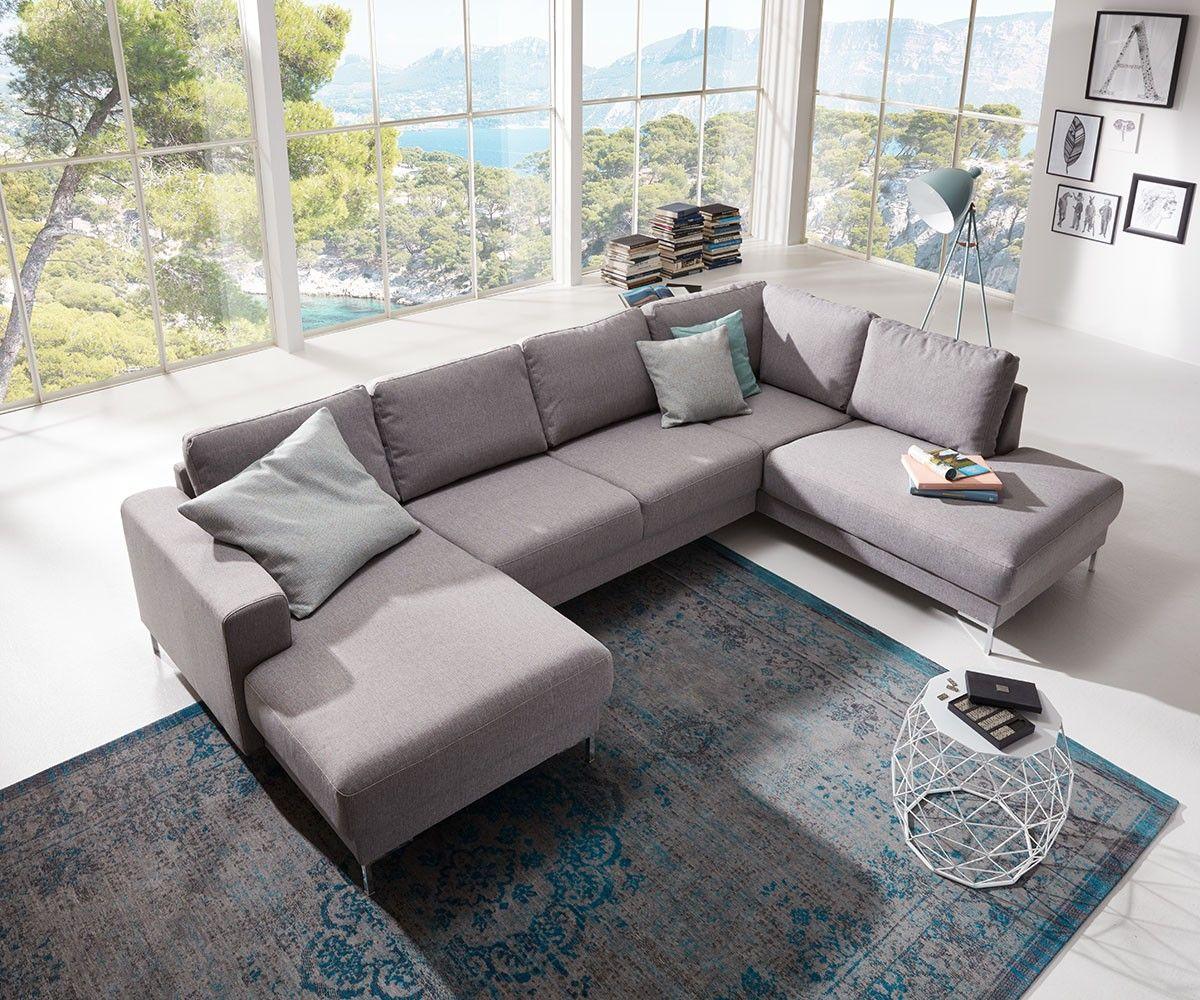 Große Wohnlandschaften delife designer wohnlandschaft silas 300x200 grau ottomane rechts