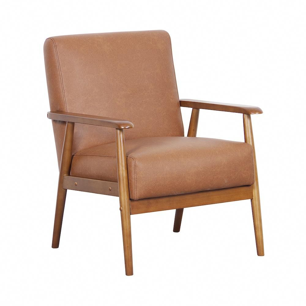Pulaski mid century modern accent chair brown over brownaccentchair