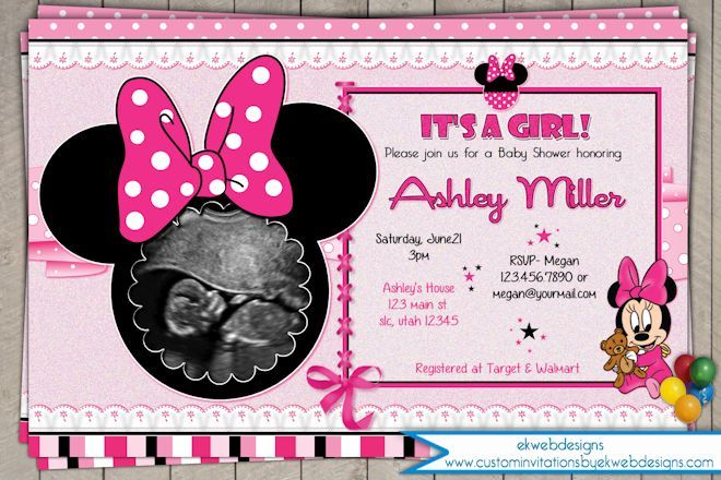 Minnie mouse baby shower invitation its a girl baby shower minnie mouse baby shower invitation printable file custom its a girl baby shower invite with sonogram filmwisefo Image collections