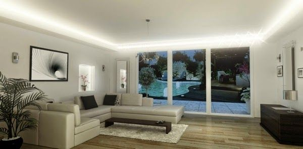 LED ceiling lighting ideas: integrated LED lighting in modern lounge ...