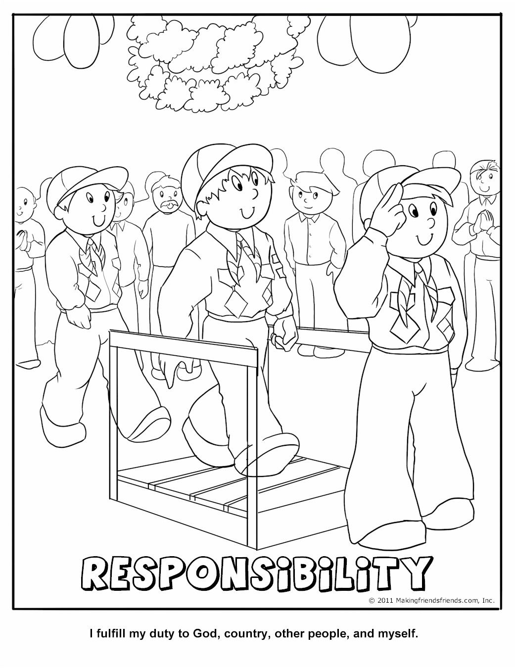 Responsibility Coloring Page Wolf Cub Achievement 9a