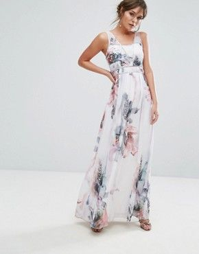 Little Mistress Printed Maxi Dress With Embellished Panelling