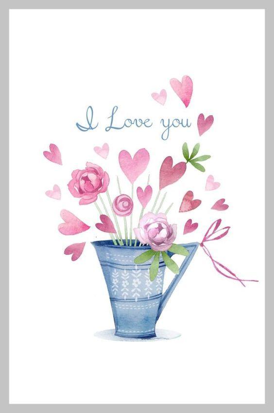 Victoria Nelson Valentines Blue Pink Peonies No Frame