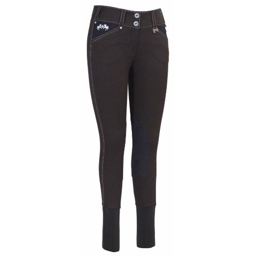 Equine Couture Women's Blakely Knee Patch Breech with Contrast Saddle Stitch, Navy, 26