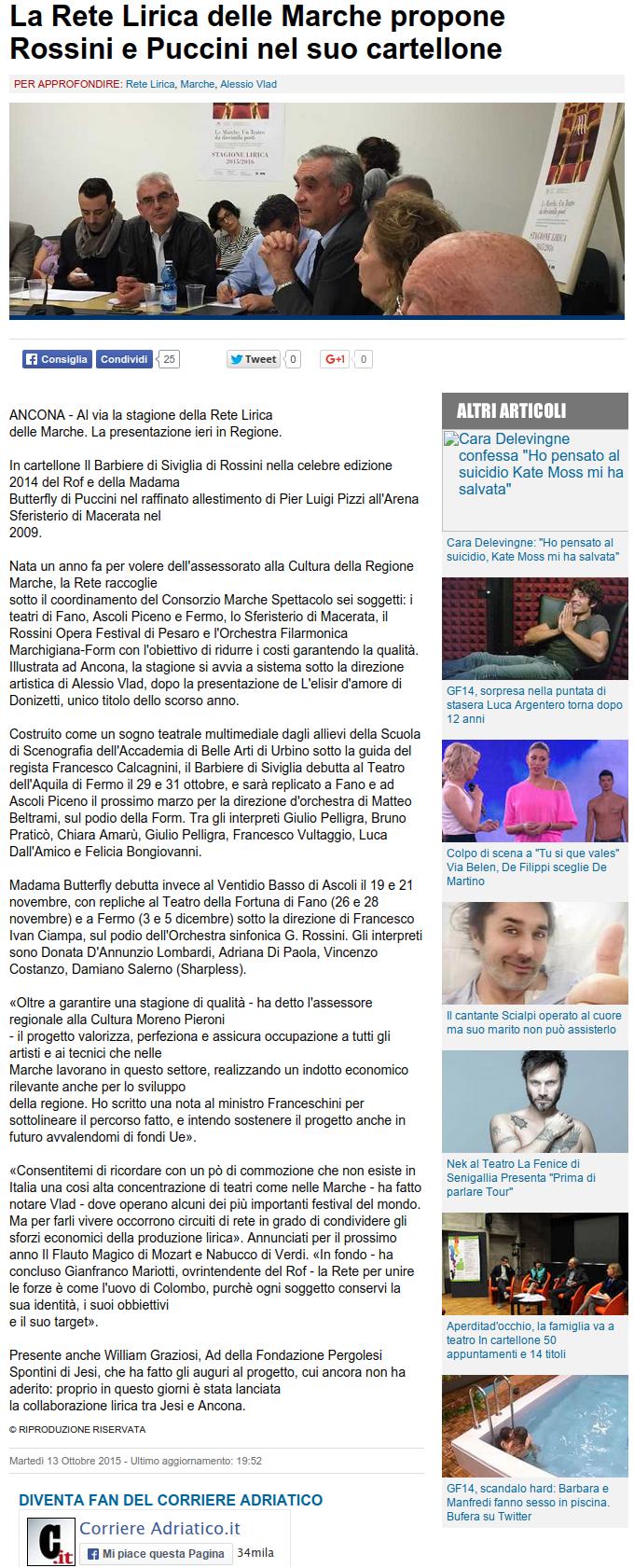 Corriere Adriatico  13 ottobre 2015