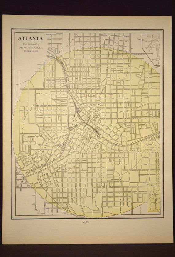 Atlanta Map Of Atlanta Street Map Wall Art Decor Antique Etsy Atlanta Map Antique Map Art Antique Map