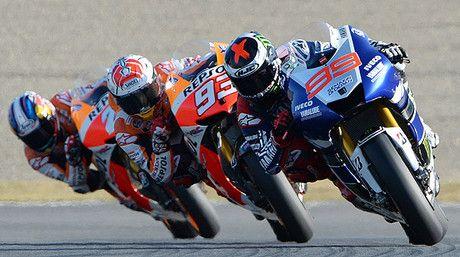 Coreografía: Jorge Lorenzo, Marc Márquez y Dani Pedrosa, durante el GP de Japón, en Motegi.