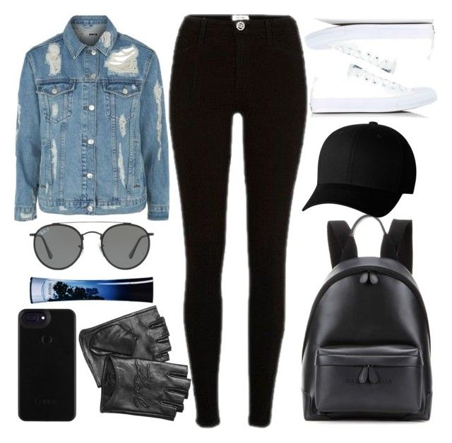 """""""MOTO."""" by valemx ❤ liked on Polyvore featuring Topshop, River Island, Balenciaga, Converse, Flexfit, Ray-Ban, Karl Lagerfeld and Giorgio Armani"""