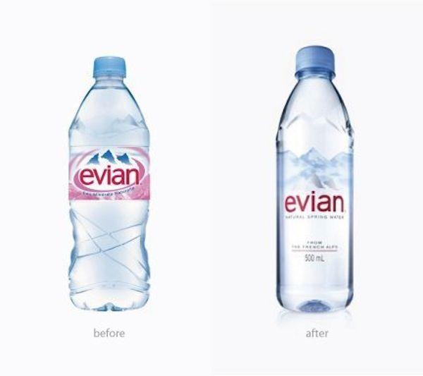 Evian Unveils Its Sleek Bottle Redesign Designtaxi Com Big Fan Evian Bottle Water Branding