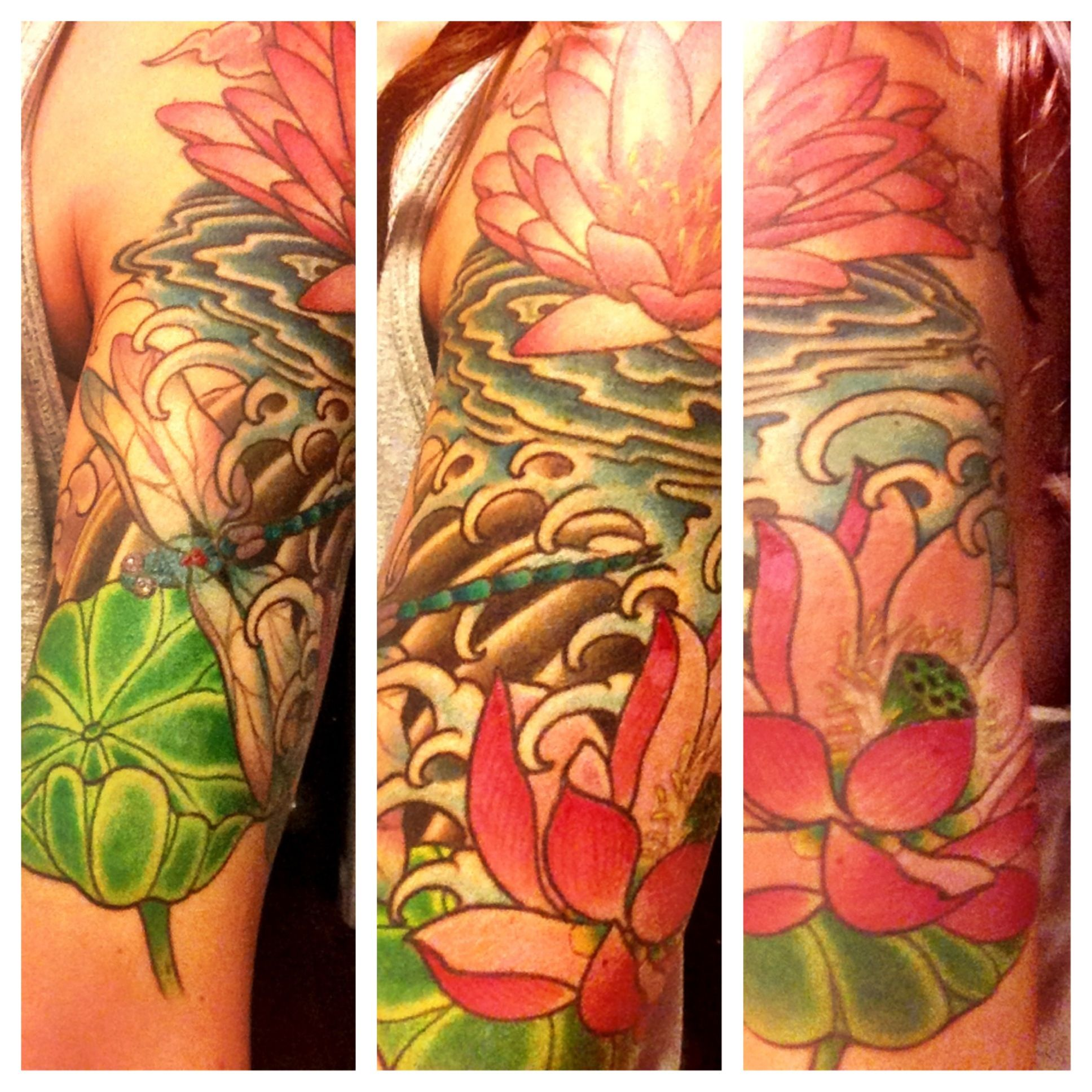 Lotus Flower Tattoo With Dragonfly: Half Sleeve By Dave Hartman. Waterlily, Lotus Flower