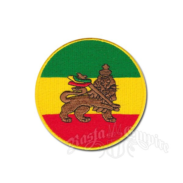 Rasta lion round patch with rasta flag