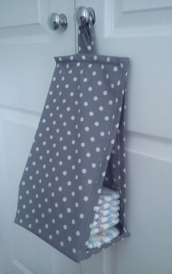 Space saving nappy diaper stacker grey and white polka dot Ideas for hanging backpacks