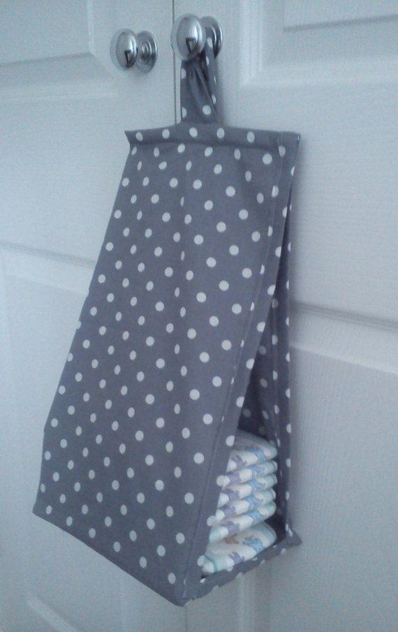 Space Saving Nappy Diaper Stacker Grey And White Polka Dot Storage Bag On Etsy 25 98 Lenceria De Bebe Panalera Ropa De Cuna