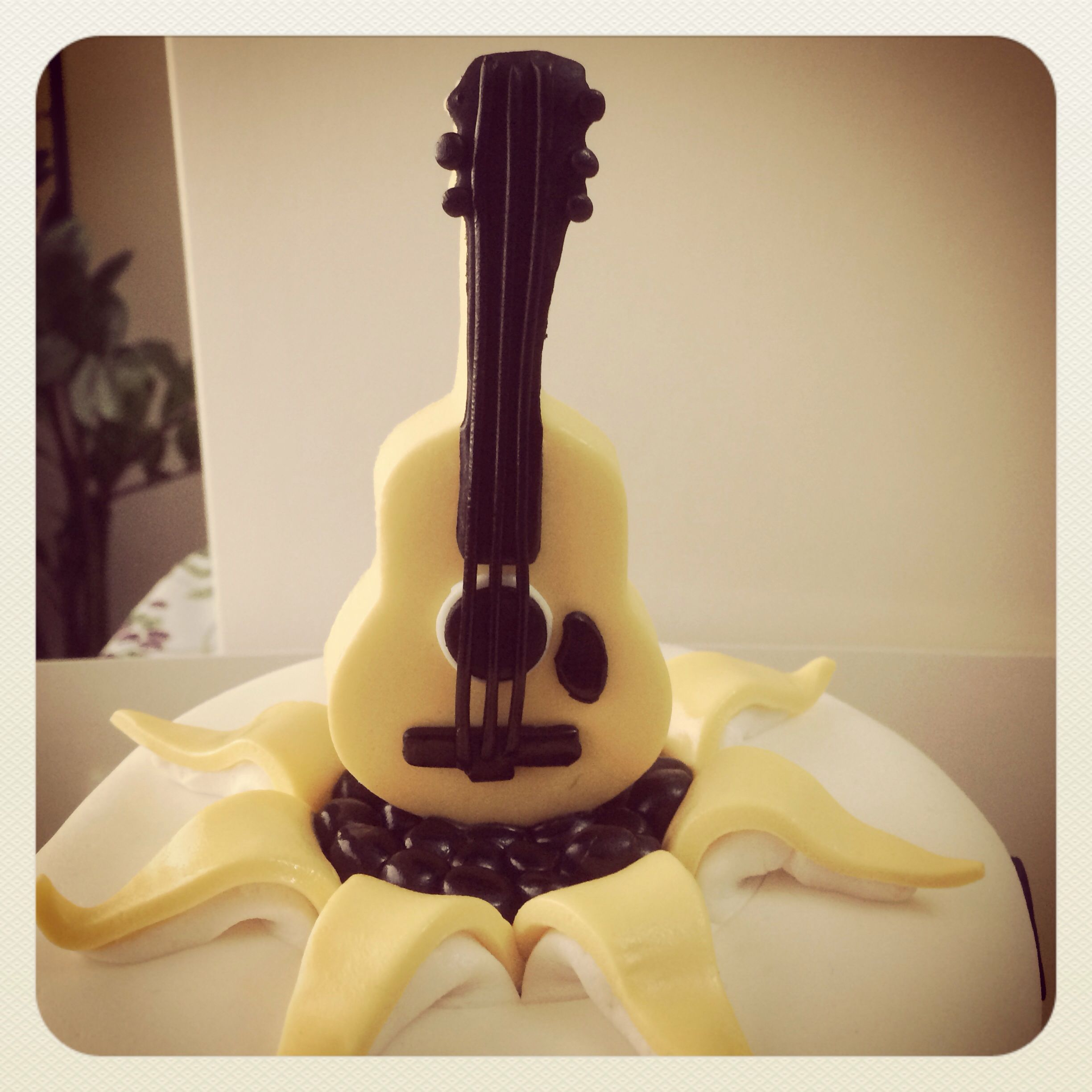 Fondant guitar cake topper Dads Birthday Party Pinterest