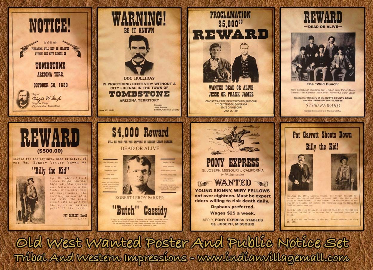 Old West Museum Quality Old West Bounty Wanted Poster