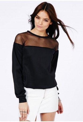 a4ab1cd172f Missguided - Constanza Long Sleeve Mesh Panel Sweatshirt In Black ...