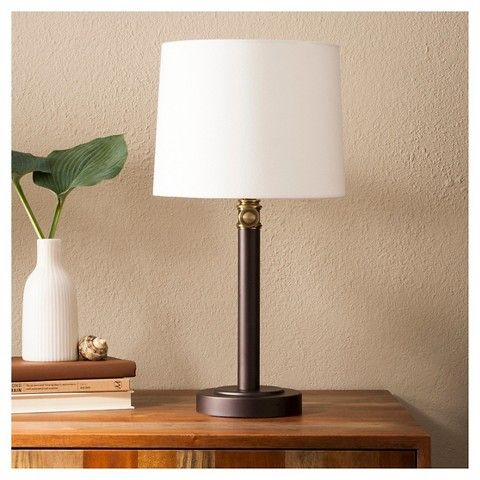 Davis Adjustable Column Table Lamp  Ebonybrass  Threshold Cool Cheap Table Lamps For Living Room Decorating Inspiration