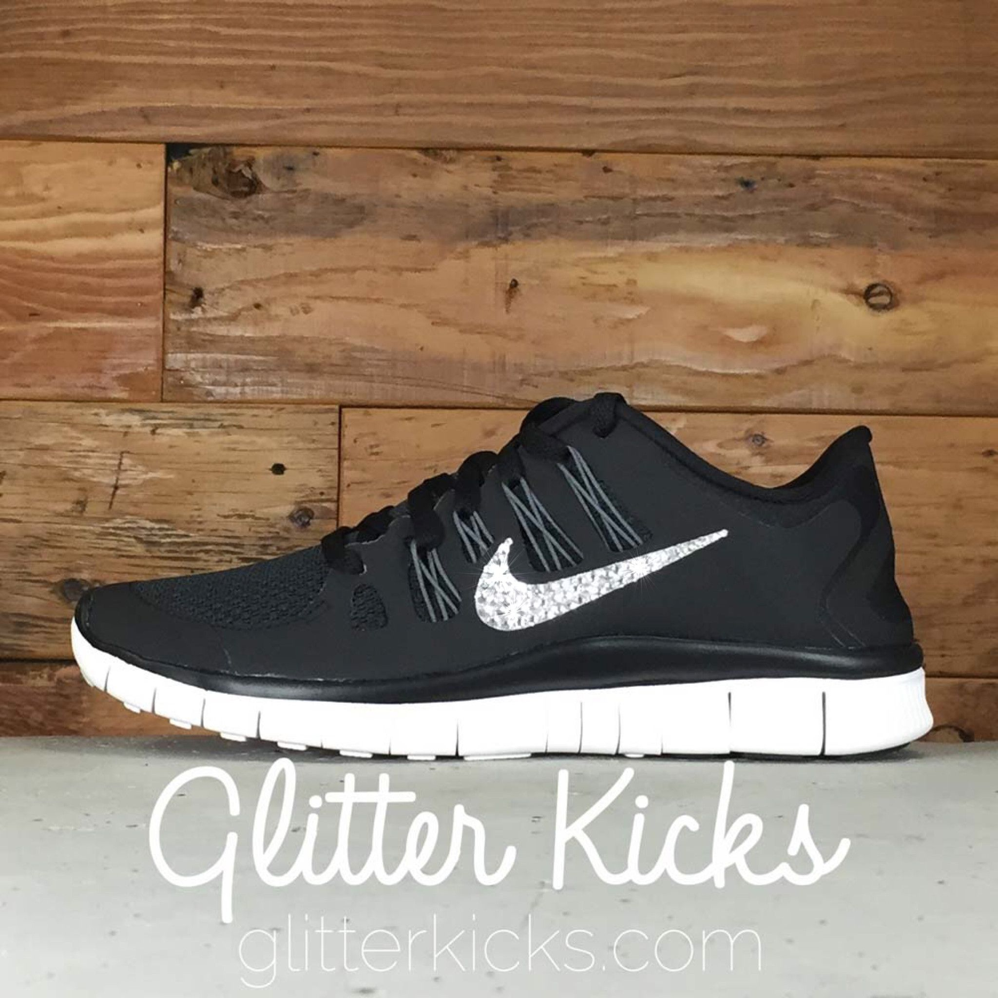 Women s Nike Free 5.0+ Running Shoes By Glitter Kicks - Hand Customized  With Swarovski Crystal Rhinestones - Black White Silver 89e5f92ef08f