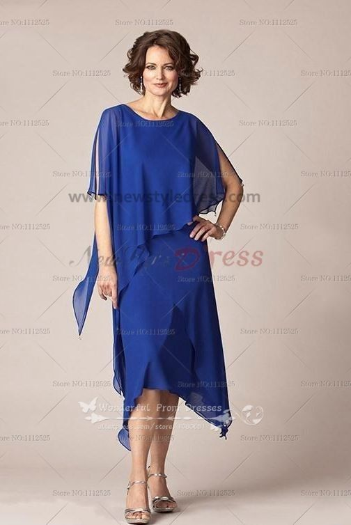 Royal blue chiffon Mid-Calf mother of the bride dress cozy suit cms ...