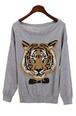 #Grey Long Sleeve Tiger Print Pullovers Sweater  sweater for women #2dayslook #new Jumpsuits #sweaterfahion  www.2dayslook.com