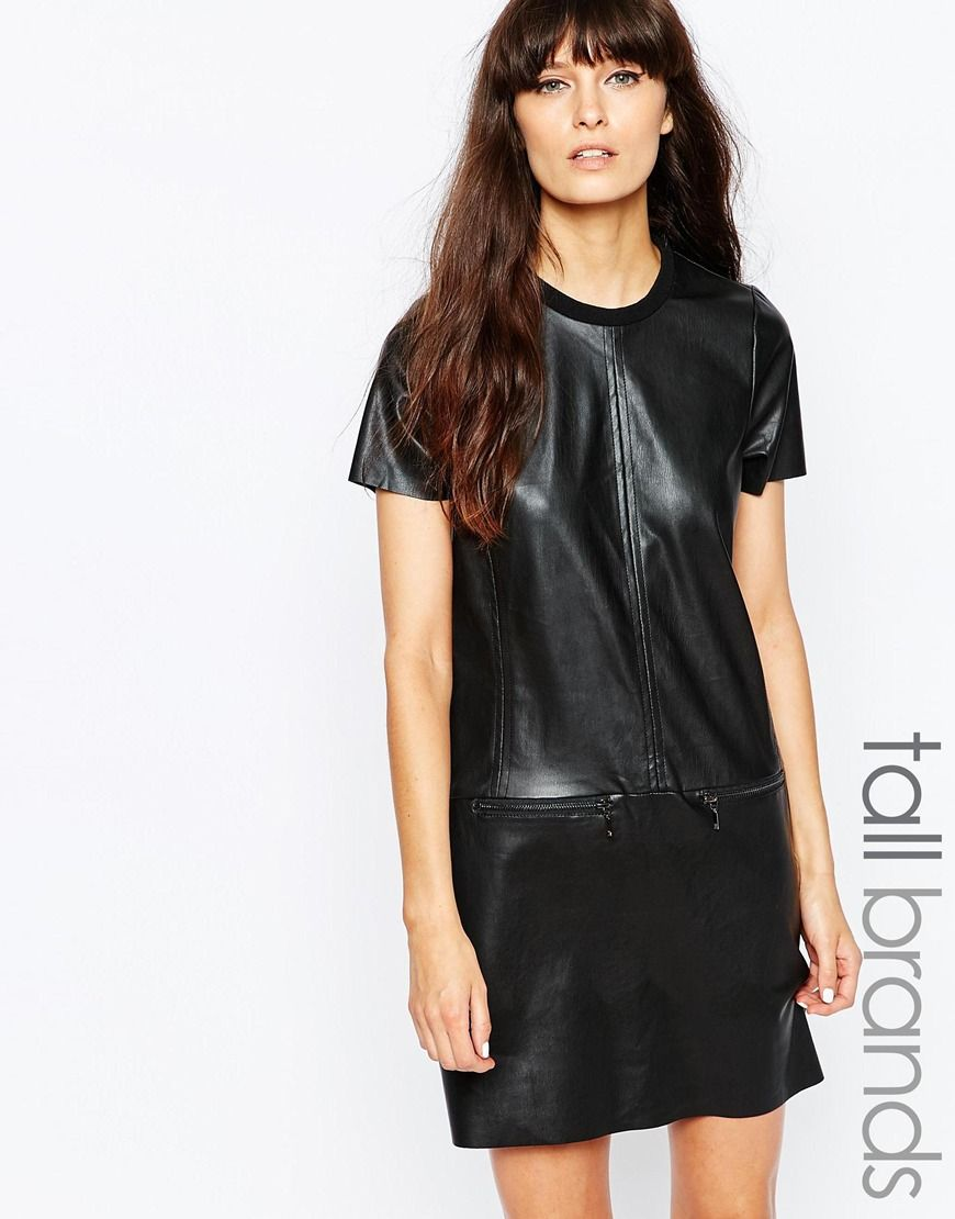 Image 1 ofVero Moda Tall Faux Leather Shirt Dress With Zip Detailing