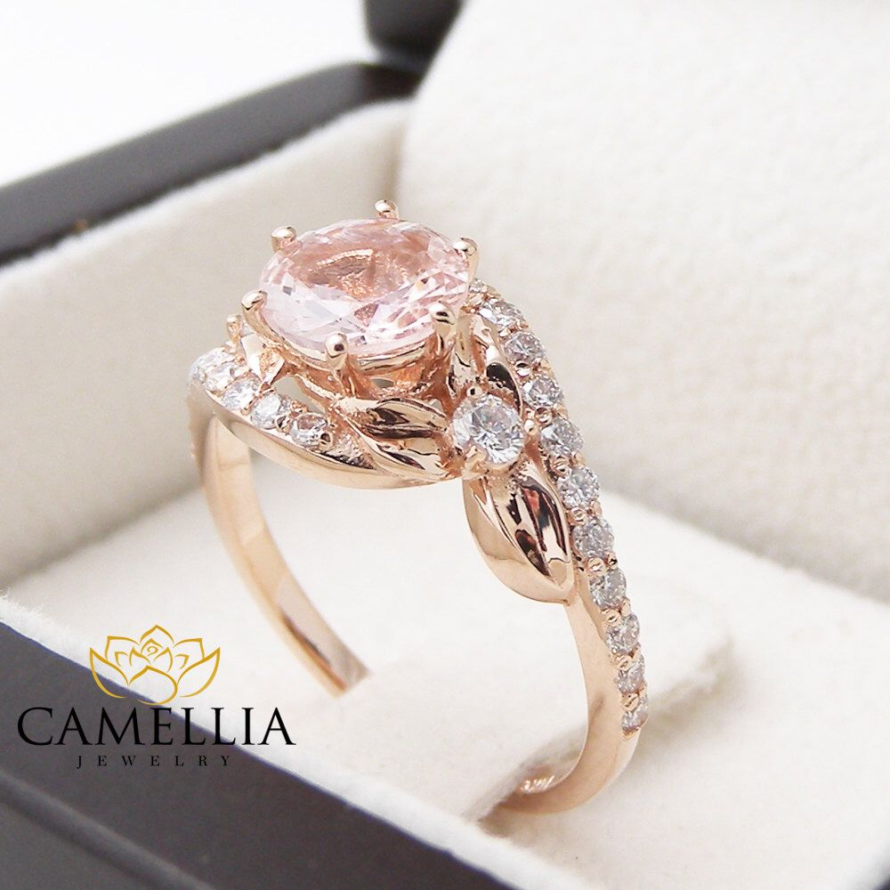 ring gemstone etsy pin pink camelliajewelry gold rose rings morganite on engagement by