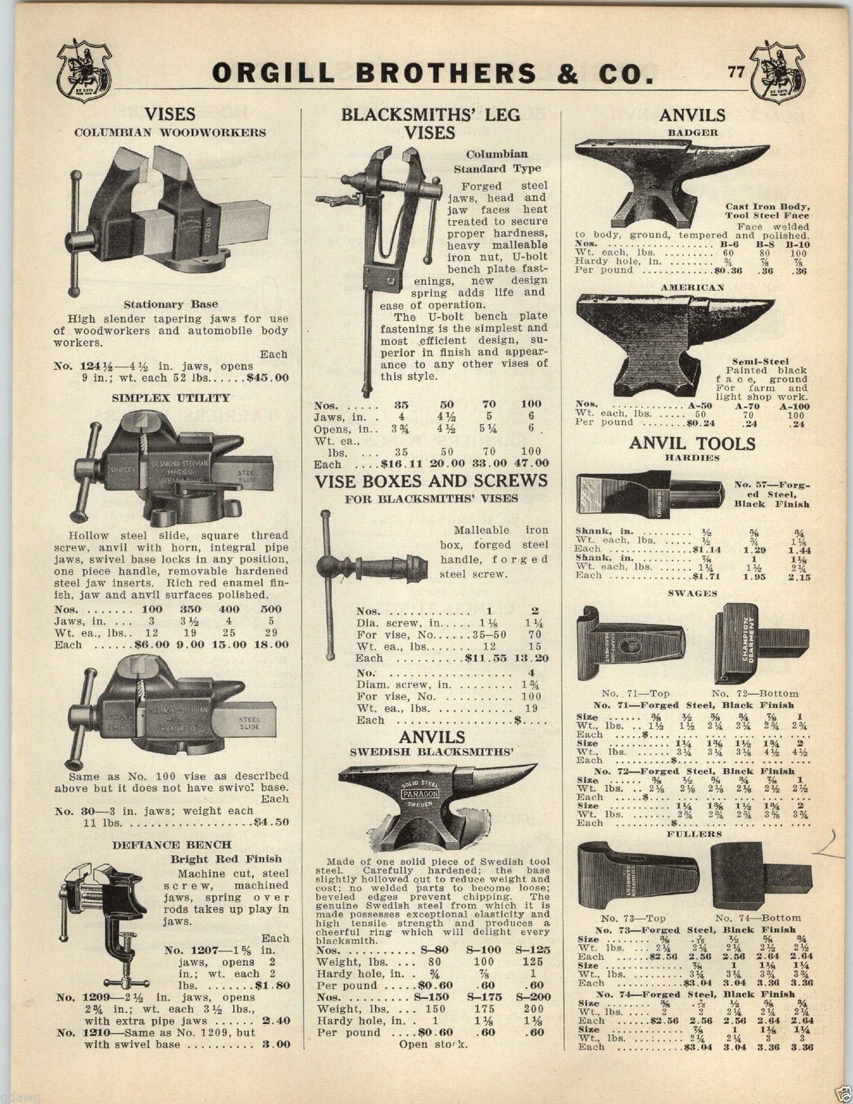 1935 PAPER AD 4 PG Blacksmith Badger Anvil Columbian Vise Champion