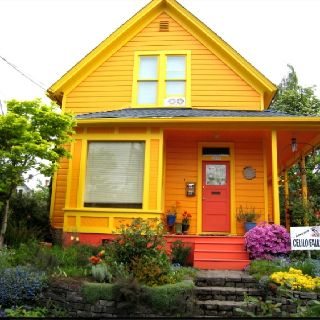 Orange And Yellow House House Colors In 2019 Exterior Paint