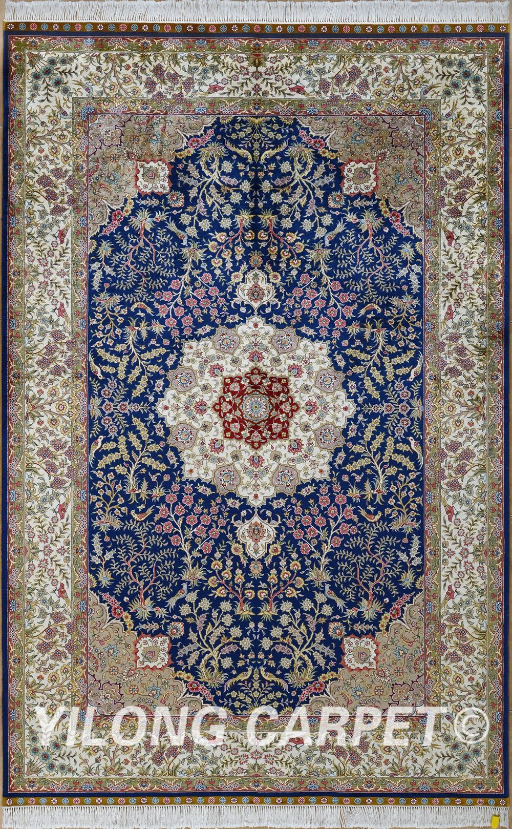 Blue Used Persian Rug For Cyrus Carpets Materials Silk Dyeing Vegetable Technology Hand Knotted Size 2 X3 14 X20 Fit Bedroom