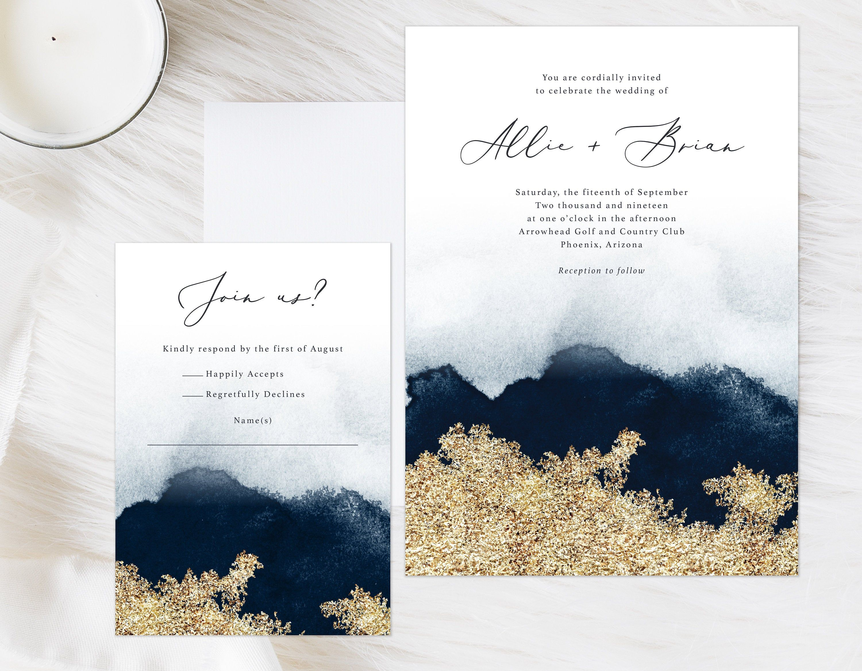Navy Blue And Gold Watercolor Invitation Moody Watercolor Invite