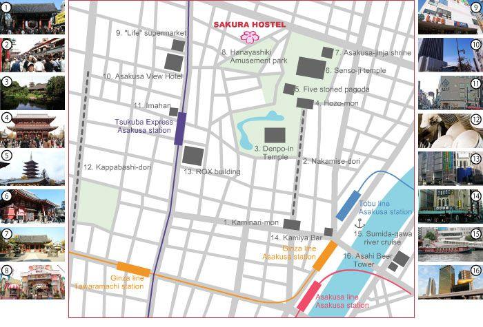 Asakusa Attraction Map Tokyo Japs Pinterest Tokyo and Japan