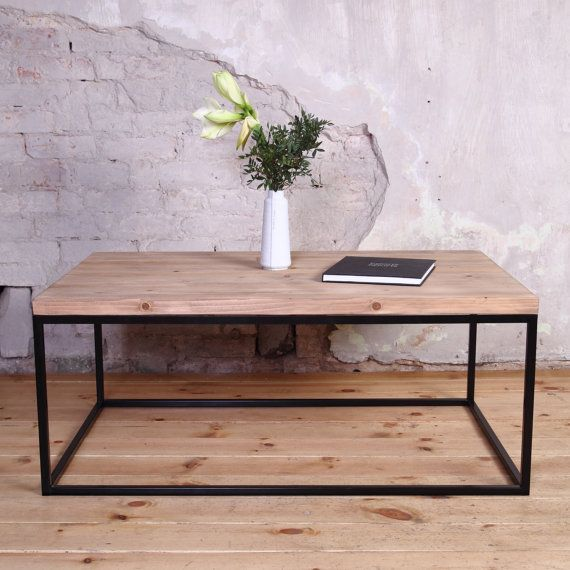 industrial wooden metal coffee table rustic reclaimed retro vintage shabby chic dining table. Black Bedroom Furniture Sets. Home Design Ideas