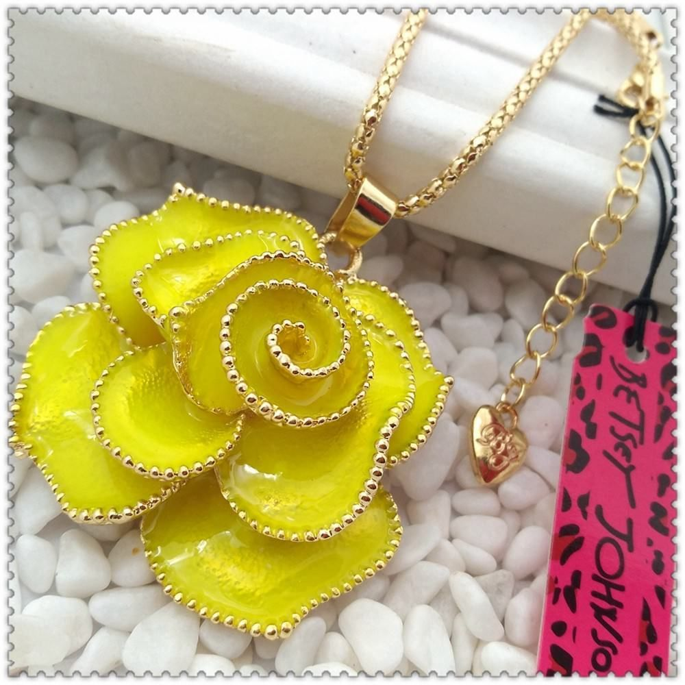 Betsey Johnson Crystal yellow Rose Pendant charm Sweater chain