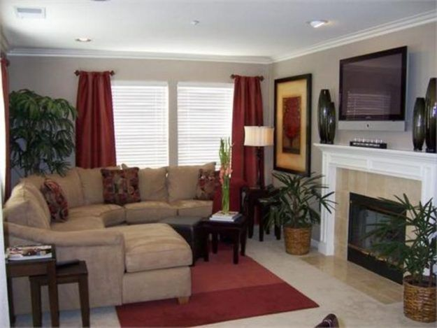 Tan And Red Living Room Grey Fur Rug White Window Shades Blinds