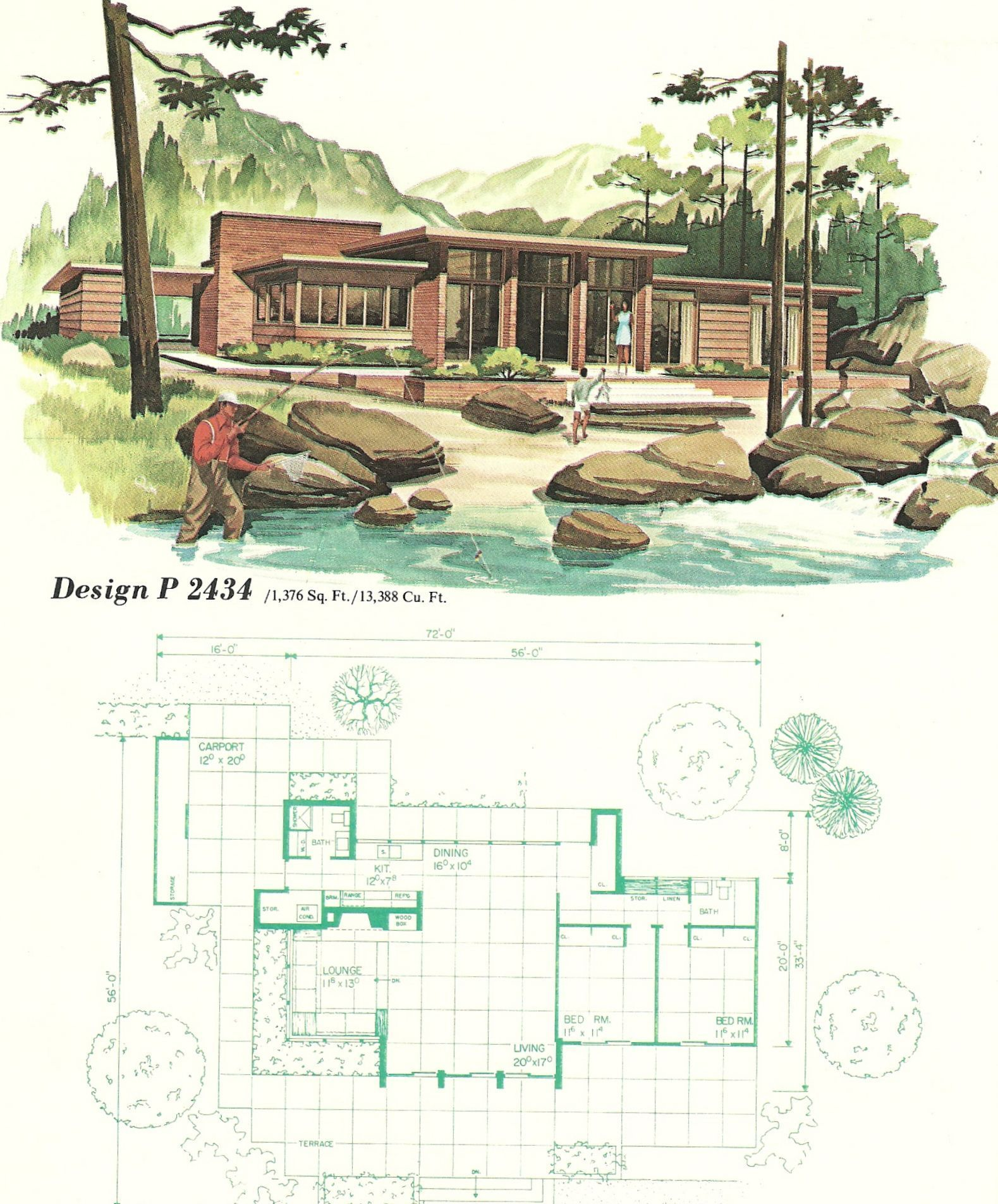 Vintage House Plans, vacation homes, 1960s #modernhomedesignlayout ...
