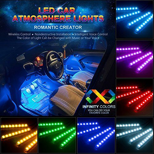 Car led strip lights wsiiroon 4pcs 48 led bluetooth app controller car led strip lights wsiiroon 4pcs 48 led bluetooth app controller interior lights multi color mozeypictures Images