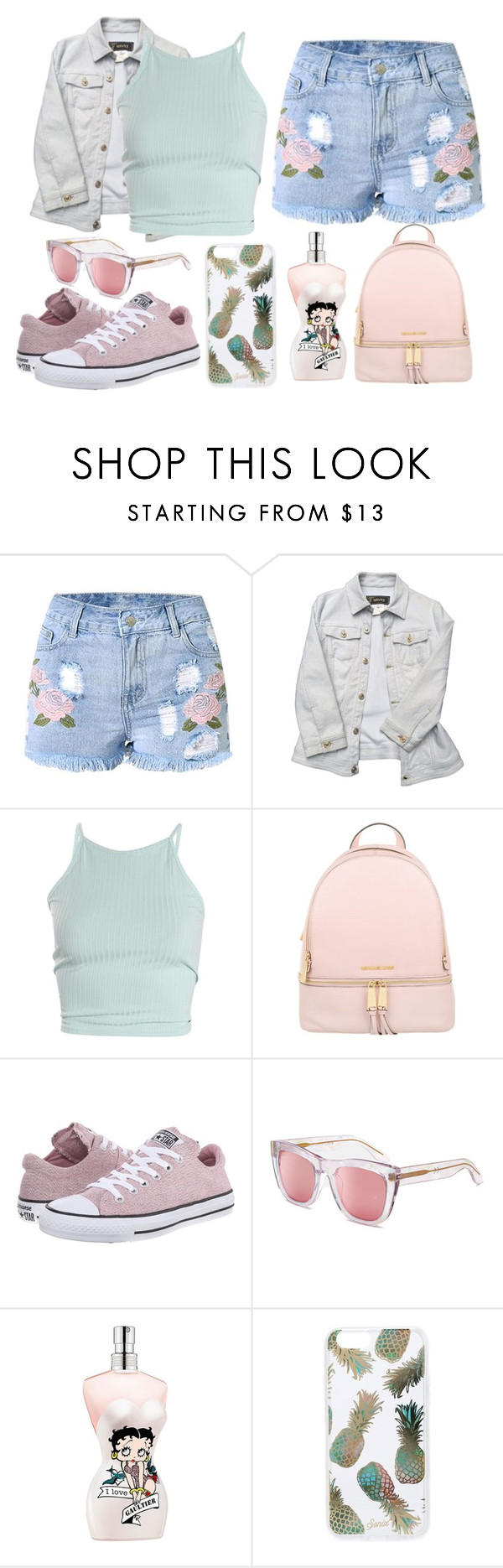 """Sunny days"" by nicolesynth ❤ liked on Polyvore featuring Versace, Michael Kors, Converse, RetroSuperFuture, Jean-Paul Gaultier and Sonix"