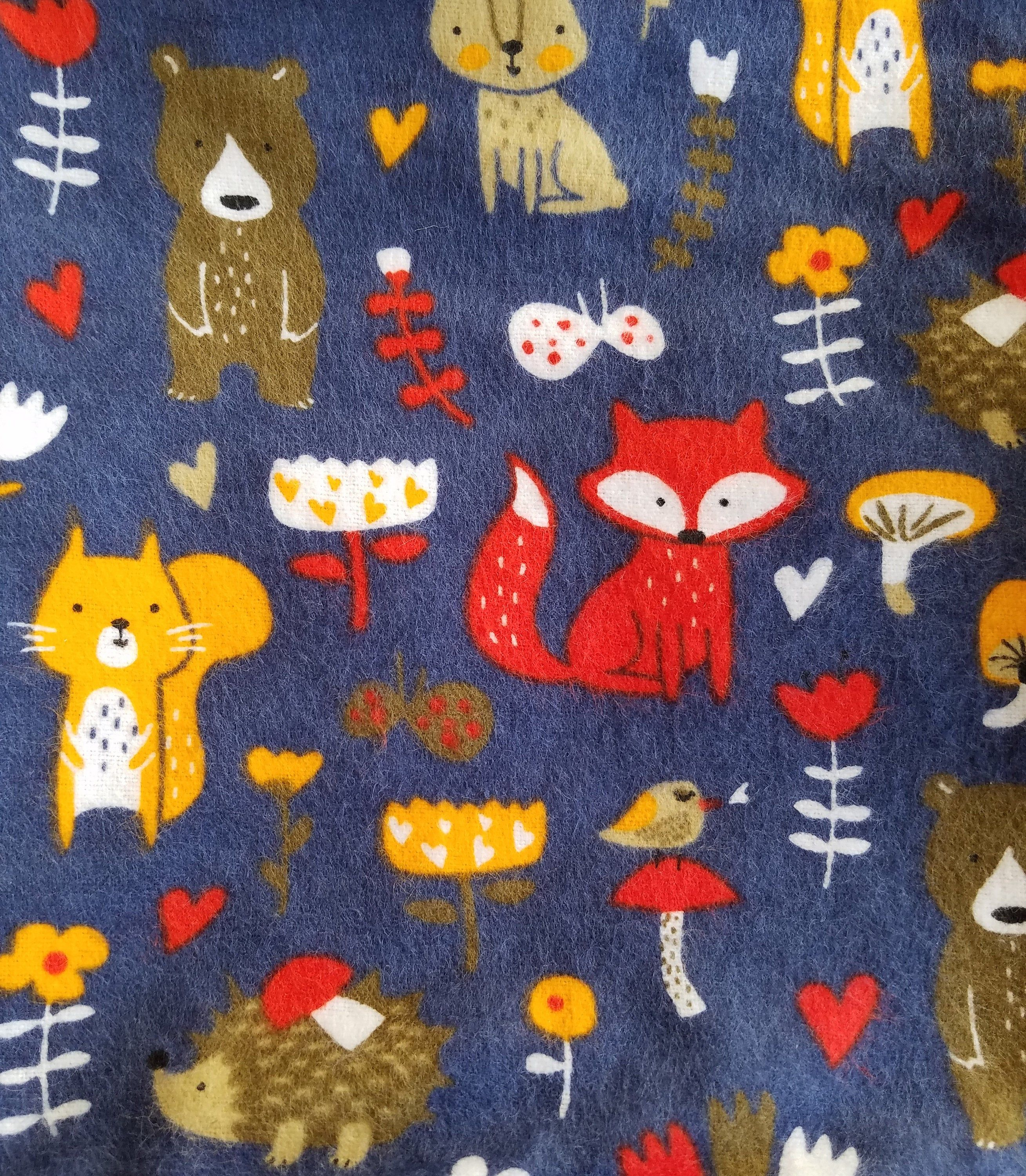 Forest Animal Fabric By The Yard 100 Cotton Flannel Fabric Only Cotton Flannel Forest Animals Fabric