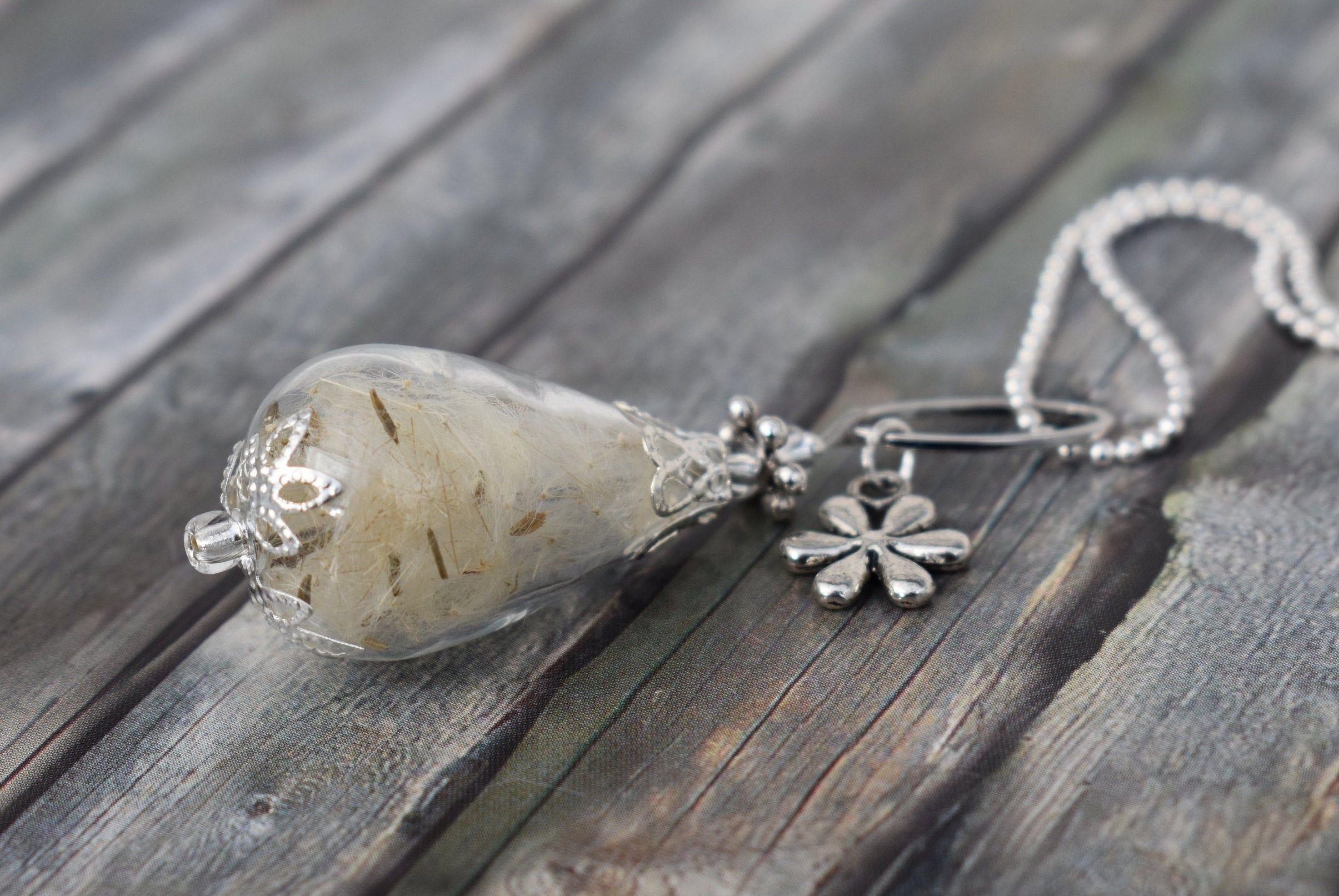 Chain/necklace/glass beaded necklace/pendant necklace/long necklace/chain woman/unique/unique jewellery ' pusteblume/dandelion '