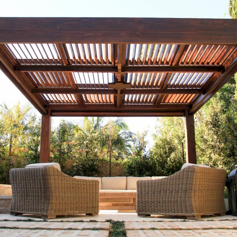 Modern Louvered Garden Pergola Options 16 L X 16 W 10 X 10 Posts Mobile Louvers Redwood 9 5ft H Electrical Wiri Pergola Louvered Pergola Wood Pergola