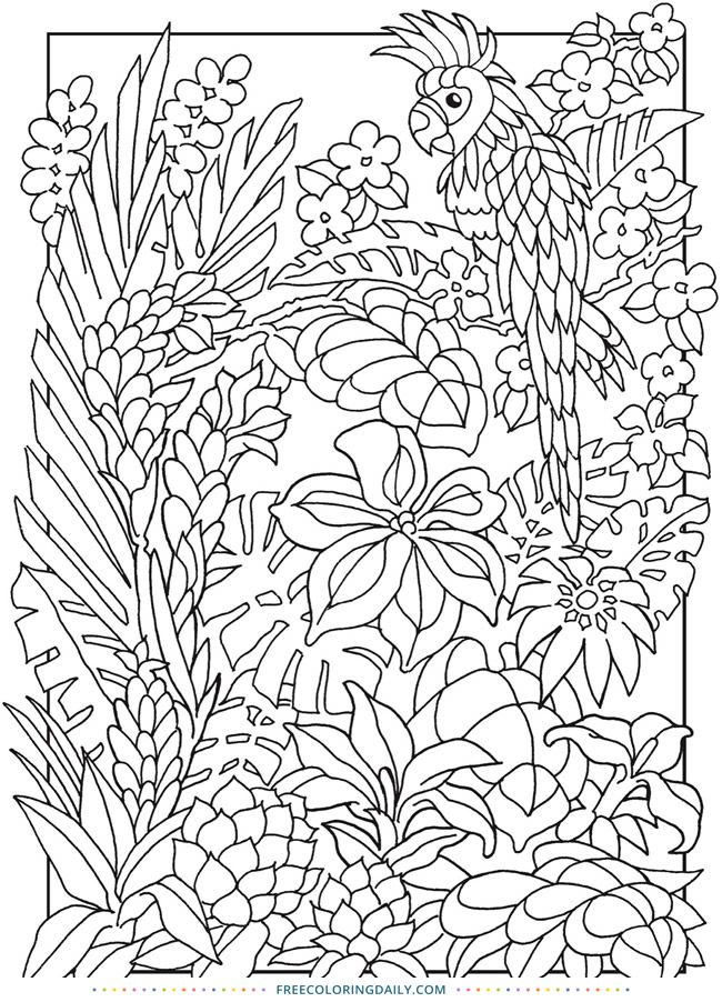 Tropical Scene Free Coloring | Bird coloring pages, Cool ...