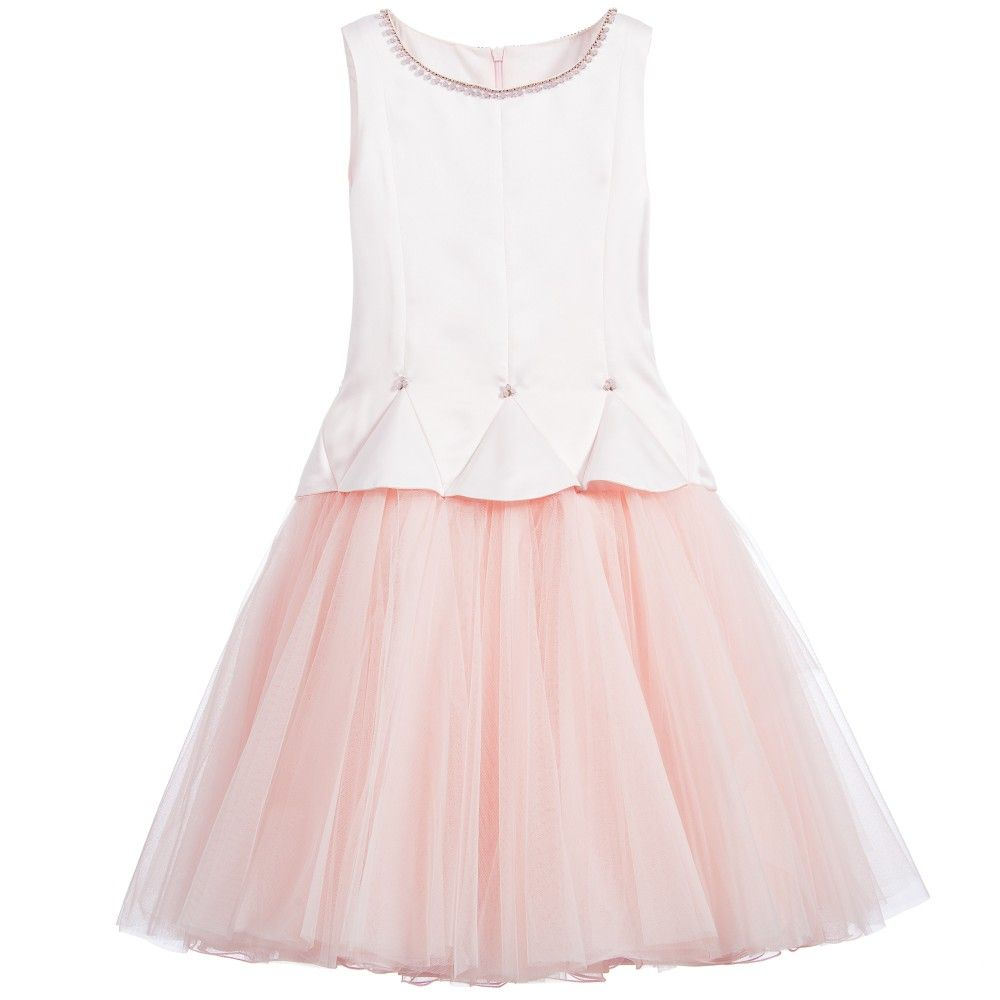 3163bc3788ae ValMax Pale Pink Satin Dress with Tulle Skirt at Childrensalon.com ...