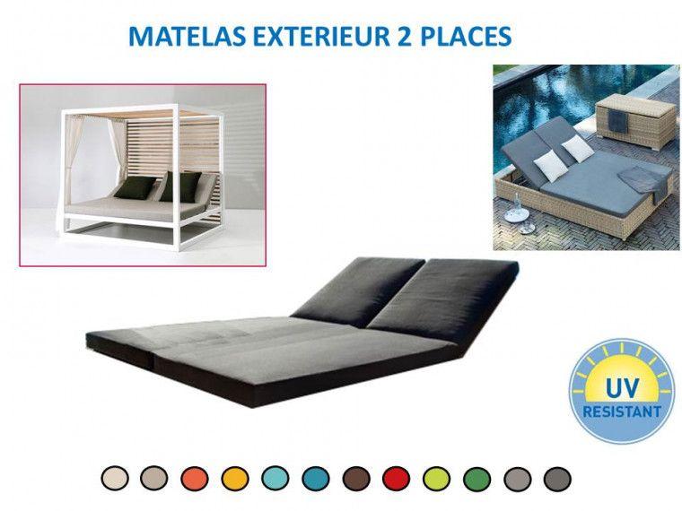 Matelas 2 Places Reliees Pour Exterieur Tissu Deperlant Outdoor
