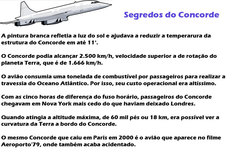 Aeronave supersônica para transporte de passageiros, o Concorde podia passar dos 2.500 km/h cobrindo o trecho Paris-Rio de Janeiro em apenas cinco horas e meia
