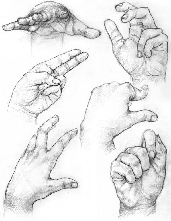 hand studies/drawing w/contour lines | schetsen - handen tekenen