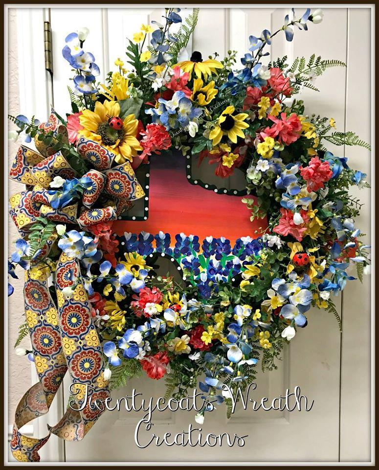 Texas in the spring!  Texas wildflower wreath by Twentycoats Wreath Creations (2017)