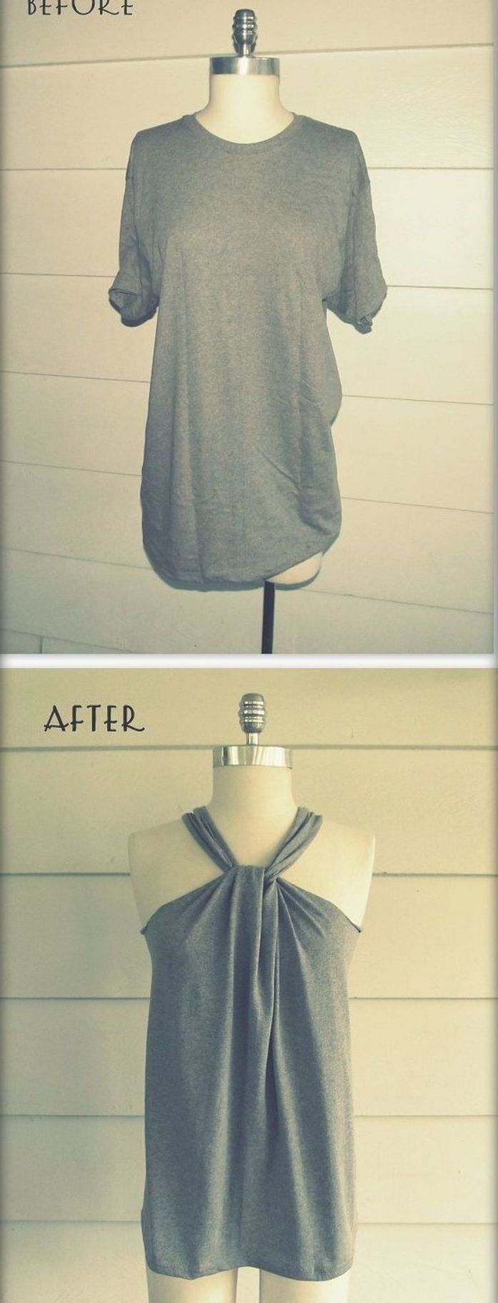 WobiSobi: No Sew, Tee-Shirt Halter #3, DIY. This site has a ton of different ways to cut up an old ugly tshirt to something cute! #nosewshirts