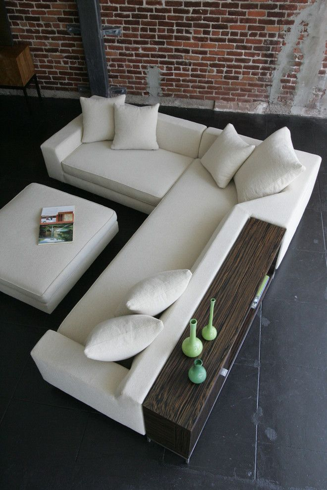 Shea Sectional with Console and Ottoman - modern - sectional sofas ...