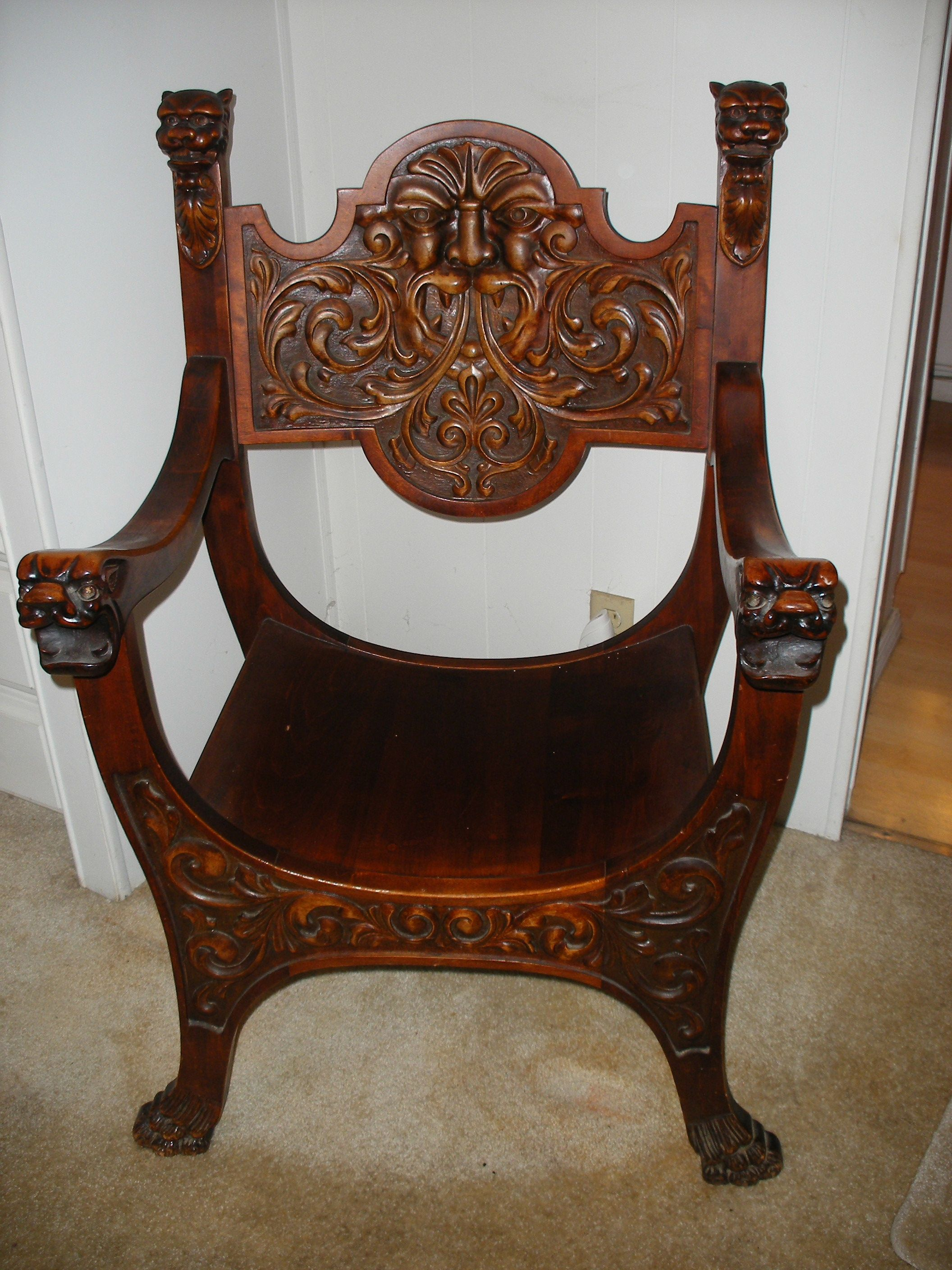 Lion carved chair stomps burkhardt woodcraft and
