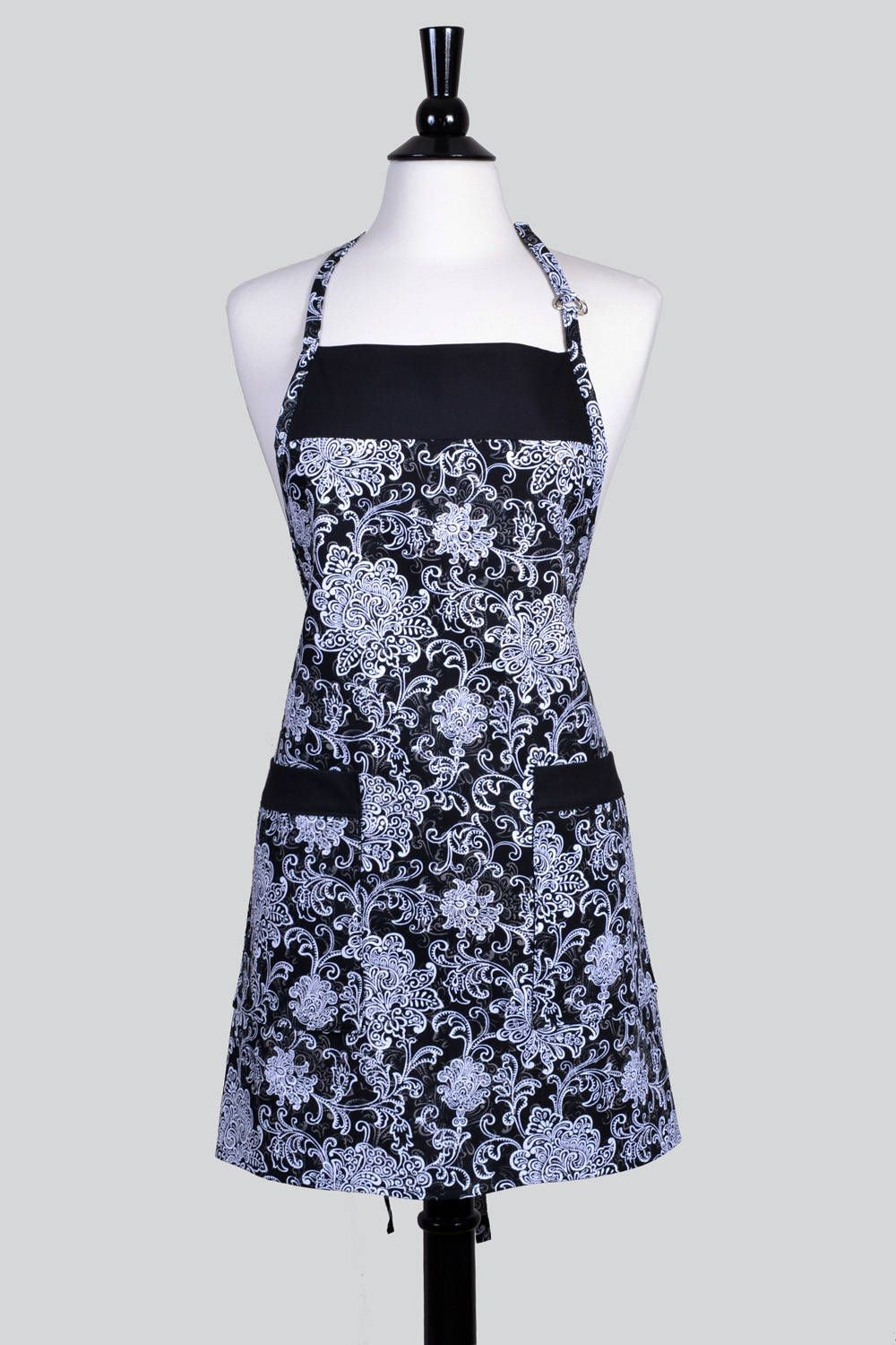 Womens Kitchen A Black And White Damask Vintage Style Canvas With Pockets Adjule Neck Ties Cs